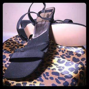 Hillard & Hanson Black Fabric Upper Leather Heel